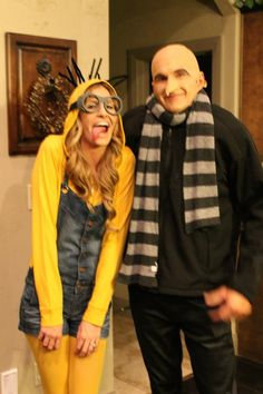 Cute minion costume made from a yellow hoodie, goggles, and overalls!  Anyone want to dress like Gru? All black with a striped scarf.