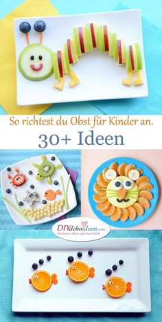Richtest du so Obst für Kinder an, wird der Teller leer gegessen. Fruit for children – ideas Related posts: Funny fruit skewers as a caterpillar of strawberries and grapes for KiTa or children's birthday Mikado fruit skewers DIY Toddler Meals, Kids Meals, Baby Food Recipes, Vegan Recipes, Vegan Ideas, Fruit Recipes, Food Art For Kids, Fruit Art Kids, Food For Children