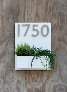 Mid-Century Madness Planter w/ Silver Address Numbers House Name Plate Design, Plant Box, Address Numbers, House Plants Decor, House Numbers, Flower Boxes, Diy And Crafts, Planters, Place Card Holders