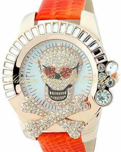 Skull Crossbones Crystal Watch Shiny Orange Genuine Leather Band Rose Gold Metal #Geneva #Fashion