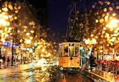 Burak Arik took this photo of the streets of San Francisco, California on a rainy night. The rain drops on the window from inside his vehicle adds a great deal Rainy Night, Rainy Days, I Love Rain, Rain Photography, Bonde, San Francisco California, Mellow Yellow, Color Yellow, City Lights
