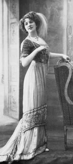 Beaded and embroidered evening or dinner gown, 'La Mode' magazine, French, 1910.