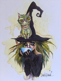 Coffee Witch and kitty series, Erela and Fruit loops Cat PRINTS! by Dustin Bailard. Wallpaper Bonitos, Witch Art, Whimsical Art, Halloween Art, Dark Art, Cute Art, Art Inspo, Fantasy Art, Art Drawings