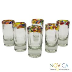 Set of 6 Blown Glass 'Confetti' Tequila Shot Glasses (Mexico) - Overstock™ Shopping - Great Deals on Novica Glassware
