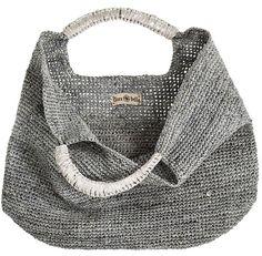 Crochet Raffia Leather Tote