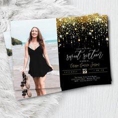 Sweet 15 Invitations, Elegant Invitations, Invites, Invitation Design, Pink And Gold, Rose Gold, Pink Black, Halloween Birthday Invitations, Photo Gold