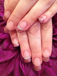 Acrylic nails with pink glitter tips and Swarovski crystal nail art/ like the french with a line of rhinestones