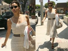 Eva Longoria in a crochet dress and matching crochet bag wearing YSL shoes via Fabsugar Vanessa Montoro, Angelina Jolie, Baby Shop, Eva Longoria Style, Yves Saint Laurent, Taylor Dress, Everyday Dresses, Crochet Clothes, Crochet Dresses