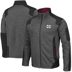 f5f005fe Mississippi State Bulldogs Colosseum Double Coverage Full Zip Jacket -  Charcoal