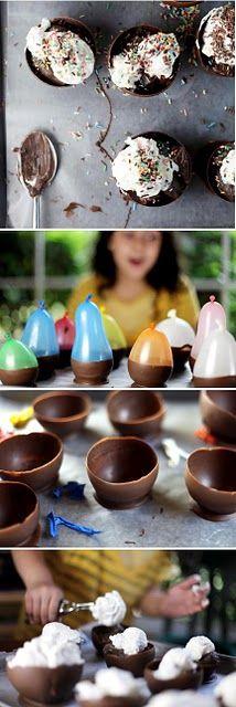 Chocolate bowls for the boys birthdays.
