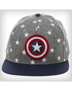 Captain America Snapback Hat - Be an all-star in this Stars Captain America Snapback Hat. Flatbill styling, with official Captain America logo, this snapback is for heroes only. Gag Gifts, Funny Gifts, Twenty One Pilots Hat, Marvel Hats, Captain America Logo, Types Of Hats, Funny Tees, Snapback Hats, Cool Kids