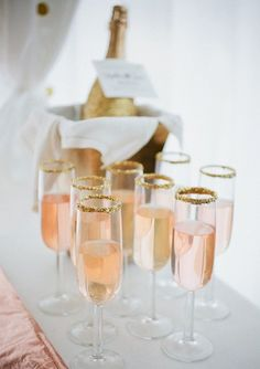 http://www.shopwinedirect.com/pommery-pop-extra-dry-187ml.html Gold Sugar Glitter Rimmed Glasses w/ Blue Pop Champagne for after the Reveal — Set Up @ Buffet Brunch Table.