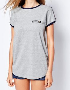 Image 3 ofEllesse Fitted Retro T-Shirt With Tape Detail