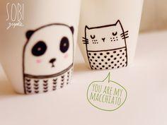 Cute coffee cups by Sobi ♥