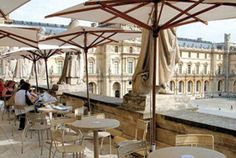 Enjoy a different perspective on I.M. Pei's pyramid from the terrace of Cafe Richelieu - Paris, France
