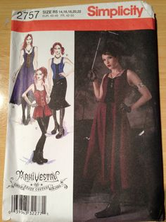 Simplicity 2757 Misses Steampunk Corset Lace Up Top by SplashOfLuv, $12.99