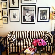 Black-and-White Striped Couch - Carolina Herrera Office - House Beautiful Airstream inspiration! Decor, Interior Inspiration, Home And Living, Furniture, Interior, Home Decor, Striped Couch, House Interior, White Upholstery