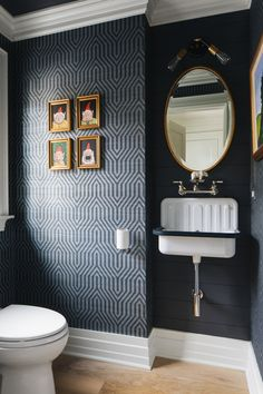 Black and White Modern Farmhouse Black and White Modern Farmhouse,Bathrooms Black shiplap This powder room features a dramatic geometric wallpaper and black shiplap Related posts:Germania Profi Aktenregal / 2 Fachböden. Modern Farmhouse Powder Room, Modern Farmhouse Design, Farmhouse Ideas, Tiny Powder Rooms, Modern Powder Rooms, Black Powder Room, Powder Room Decor, Powder Room Design, Bad Inspiration