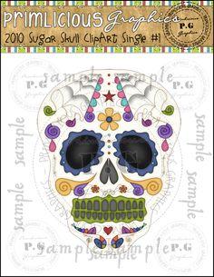 Sugar Skull ClipArt Single