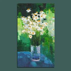 Original Oil Painting Camomiles Painting Wall Decor Fine Art