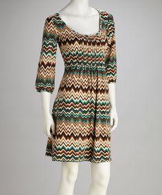 Look at this #zulilyfind! Green & Teal Zigzag Bell-Sleeve Dress by Reborn Collection #zulilyfinds