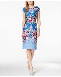 Eci | Floral-print Midi Sheath Dress | Lyst
