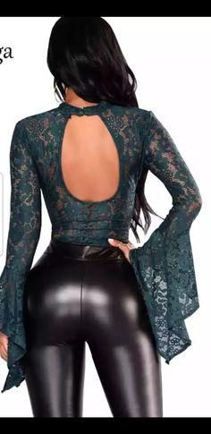 Legging pushup sexy, brillant galbe les fesses et les jambes Backless Bodysuit, Lace Bodysuit, Long Sleeve Bodysuit, Bodysuit Fashion, Mesh Long Sleeve, Leggings, Black Ruffle, Stretch Lace, Floral Lace