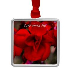 Scarlet Begonias Metal Ornament - home gifts ideas decor special unique custom individual customized individualized
