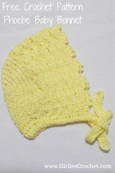 294931863a5f This is a free crochet pattern for the Phoebe Baby Bonnet, size for a 3
