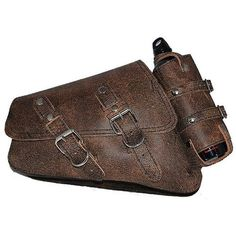 La Rosa Harley-Davidson Sportster XL Rustic Brown Leather Left Saddlebag with Integrated Fuel Bottle