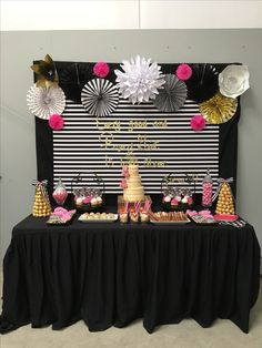 Kate spade baby shower #desserttable #caketable #katespadebackdrop #backdrop #rosettes #ferrerorochettree #bows #pinkcupcakes #paperflowers #katespadeparty #katespadebabyshower #katespadeinspired