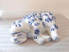 Porcelain Sleeping Dog Puppy Decorative Figural Centrum Ceramics Blue White