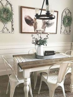 Farmhouse Dining Room Table, Dining Room Wall Decor, Dining Table Design, Farmhouse Wall Decor, Decor Room, Farmhouse Ideas, Modern Farmhouse, Room Decorations, Farmhouse Furniture