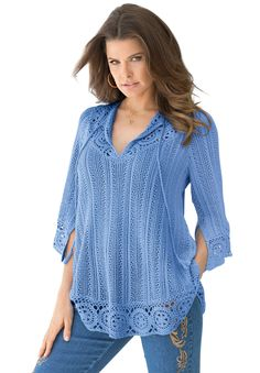"Look feminine and pretty in our ""lily"" crochet plus size sweater by denim 24/7  A-line design creates a beautiful shape as it fits gently to the bodice and sweeps away at the hip crochet medallion detail looks ultra chic split neckline flatters the face while providing ample coverage 3/4-length bell sleeves are elegant and let you move with ease front and back rounded hem at about 28"" this sweater meets you at the low hip cotton/acrylic, hand wash, imported wear this sweater with a grea..."