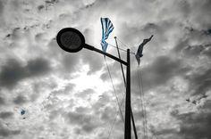 Greek Flag Greek Flag, Wind Turbine, Photography, Photograph, Photo Shoot, Fotografie, Fotografia