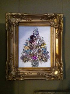 Framed Vintage Jewelry Art Christmas Tree w Roses and Pearls   eBay