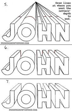 , How to Draw Letters in One Point Perspective - Perspective Drawing Tutorial -. , How to Draw Letters in One Point Perspective - Perspective Drawing Tutorial - Perspective Drawing Lessons, One Point Perspective, Perspective Art, 3d Drawing Tutorial, Drawing Tutorials, Drawing Ideas, Drawing Projects, Drawing For Kids, Art For Kids