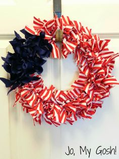Fourth of July Ribbon Wreath; seriously considering doing this tomorrow for the holiday.
