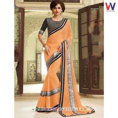 Supple Light Orange Colored Georgette Designer Saree#Womansvilla
