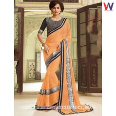 Supple Light Orange Colored Georgette Designer Saree#Womansvilla