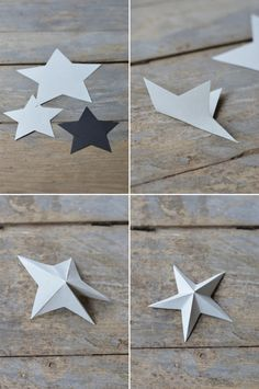 paper stars ~ Simply cut star shapes out of coloured cardsotck and fold as shown on the pictures
