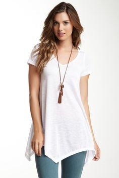 Go Couture Short Sleeve Asymmetrical Tunic by Non Specific on @HauteLook