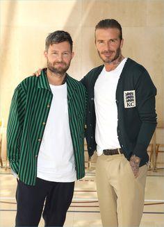 Kent & Curwen creative director Daniel Kearns and David Beckham pose for pictures at the brand's spring-summer 2018 presentation.