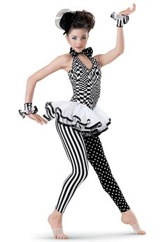Weissman | Mixed Print Halter Unitard with Skirt Possible Mad Hatters (with mini-top hat and short black bob wig)