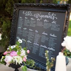 Table assignments... chalkboard with vintage frame