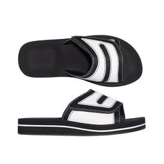 33a5947c4b04c This black and white slide looks great on him or her! Leatherlike upper  with hook