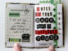 Pocket promises handstitched/scrapbooked books with encouraging promises of God