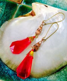 Wow-Vivid-Red-Czech-Glass-Long-Vintage-Old-Hollywood-Antique-Estate-Earrings