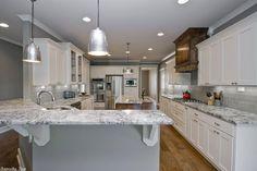 Traditional Kitchen with Pendant light, Undermount sink, Custom hood, Alpine, Granite, Glass panel, Stone Tile, Flush