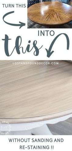 I wanted to find was an easier way to update a table, but still have a beautiful, wood-look top that also would have great durability. And I think I've got it! No sanding down or re-staining…  More